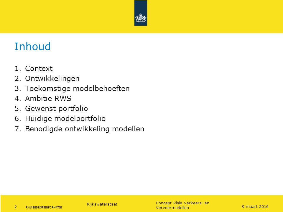Inhoud Context Ontwikkelingen Toekomstige modelbehoeften Ambitie RWS
