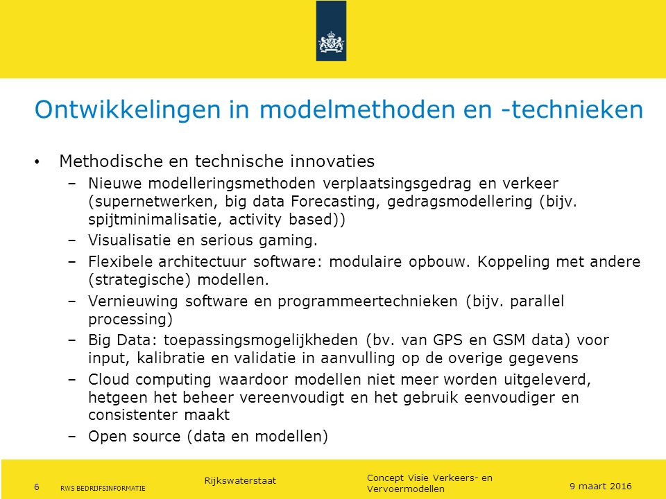 Ontwikkelingen in modelmethoden en -technieken