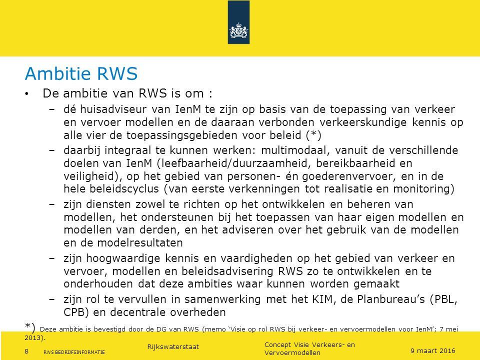 Ambitie RWS De ambitie van RWS is om :