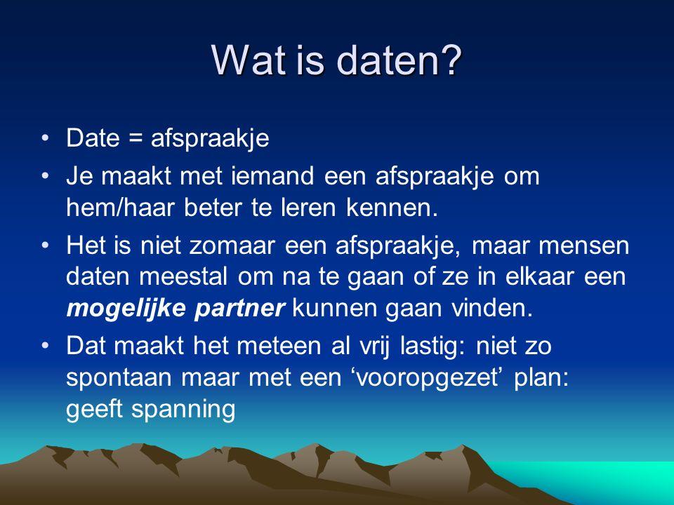 Wat is daten Date = afspraakje