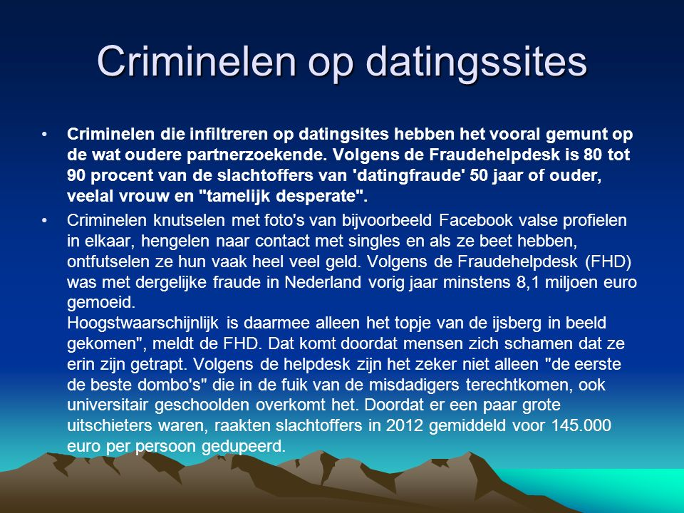 Criminelen op datingssites