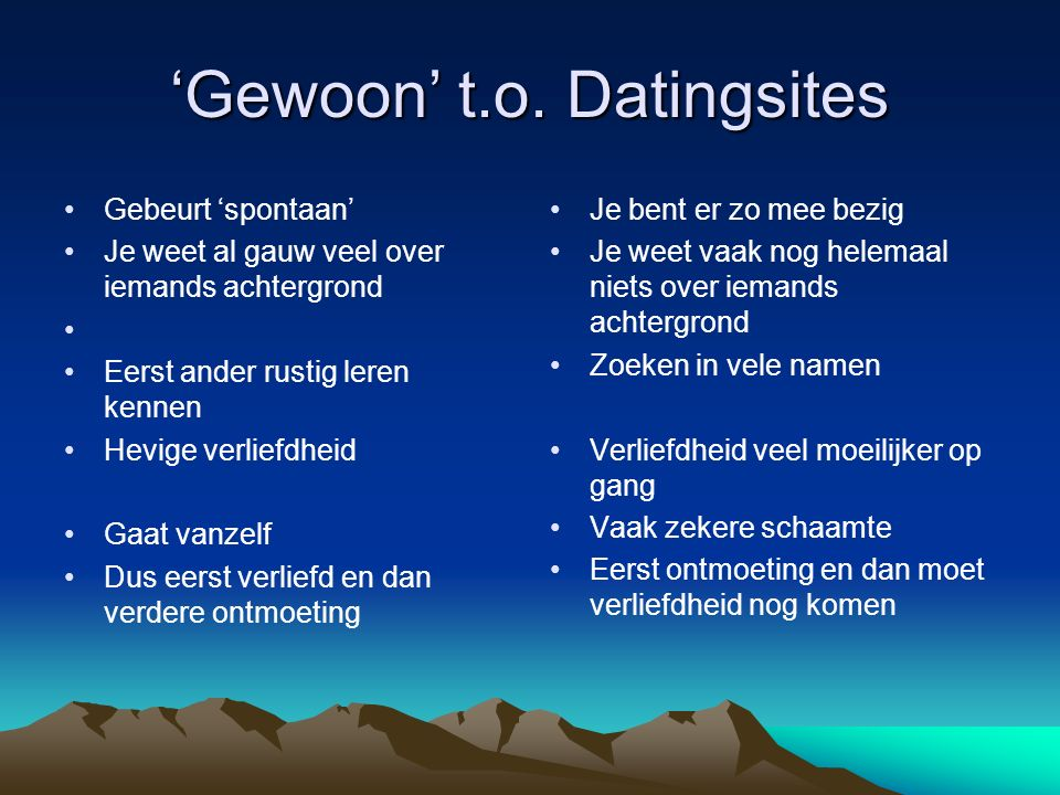 'Gewoon' t.o. Datingsites