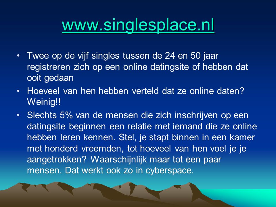 www.singlesplace.nl Twee op de vijf singles tussen de 24 en 50 jaar registreren zich op een online datingsite of hebben dat ooit gedaan.