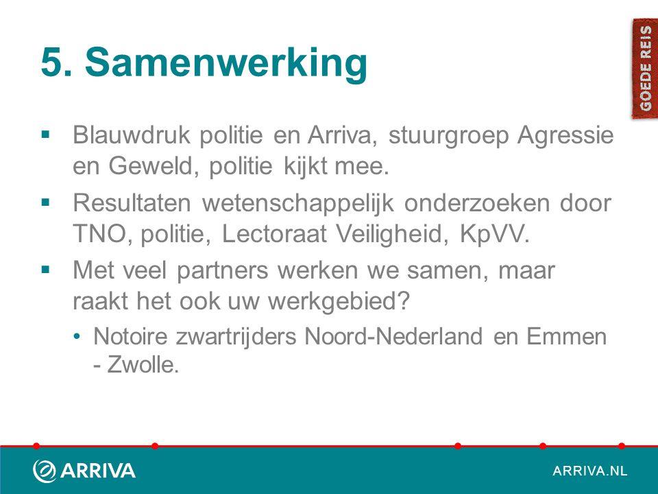 5. Samenwerking Blauwdruk politie en Arriva, stuurgroep Agressie en Geweld, politie kijkt mee.