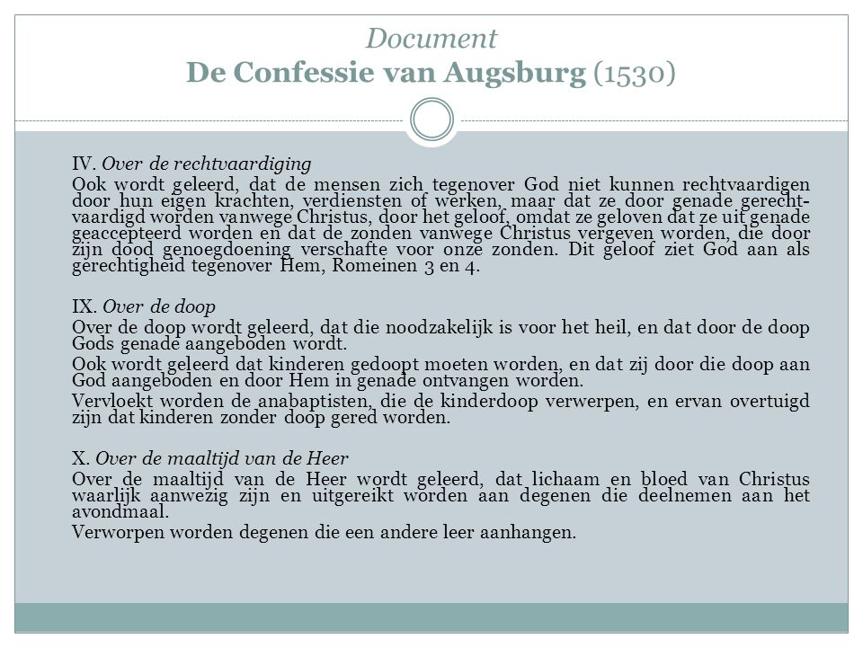 Document De Confessie van Augsburg (1530)