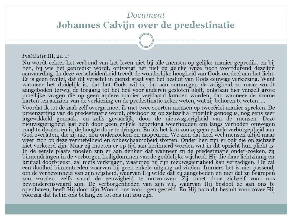 Document Johannes Calvijn over de predestinatie
