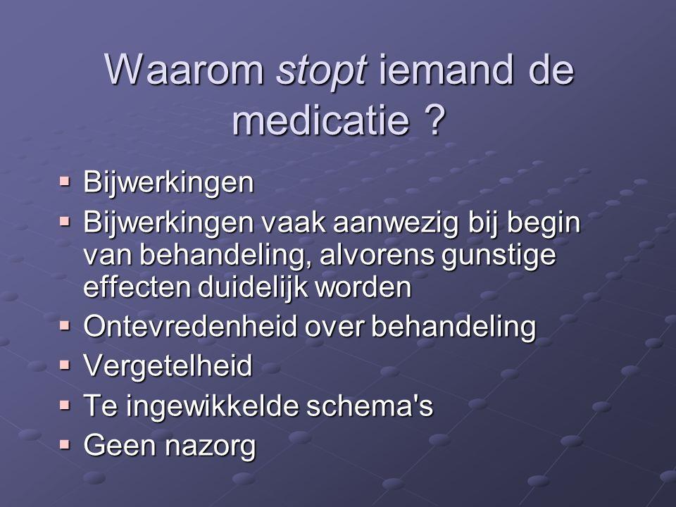 Waarom stopt iemand de medicatie
