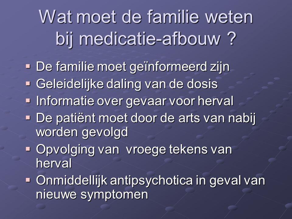 Wat moet de familie weten bij medicatie-afbouw