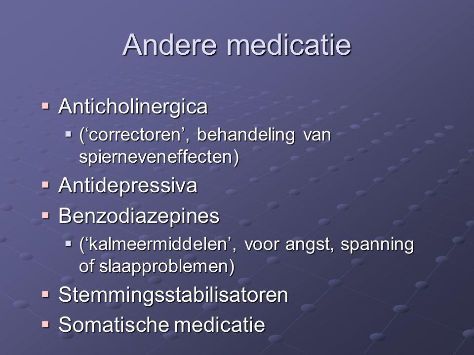 Andere medicatie Anticholinergica Antidepressiva Benzodiazepines