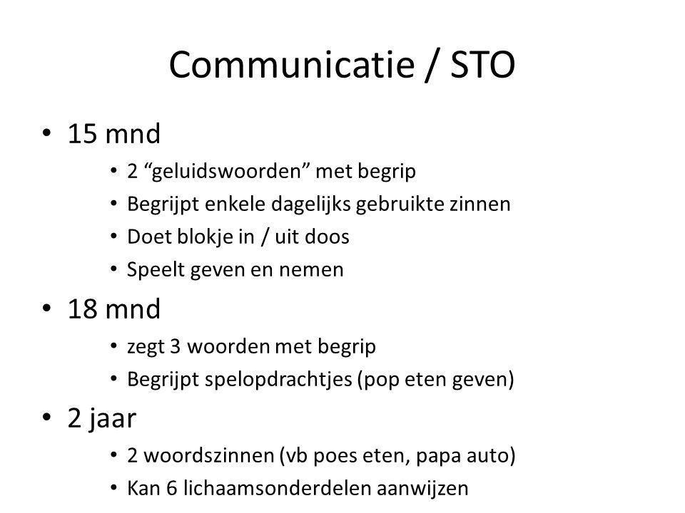 Communicatie / STO 15 mnd 18 mnd 2 jaar 2 geluidswoorden met begrip