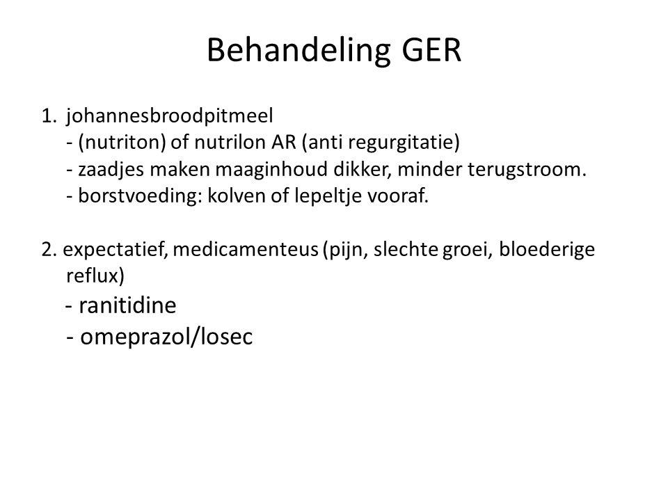 Behandeling GER - ranitidine - omeprazol/losec johannesbroodpitmeel