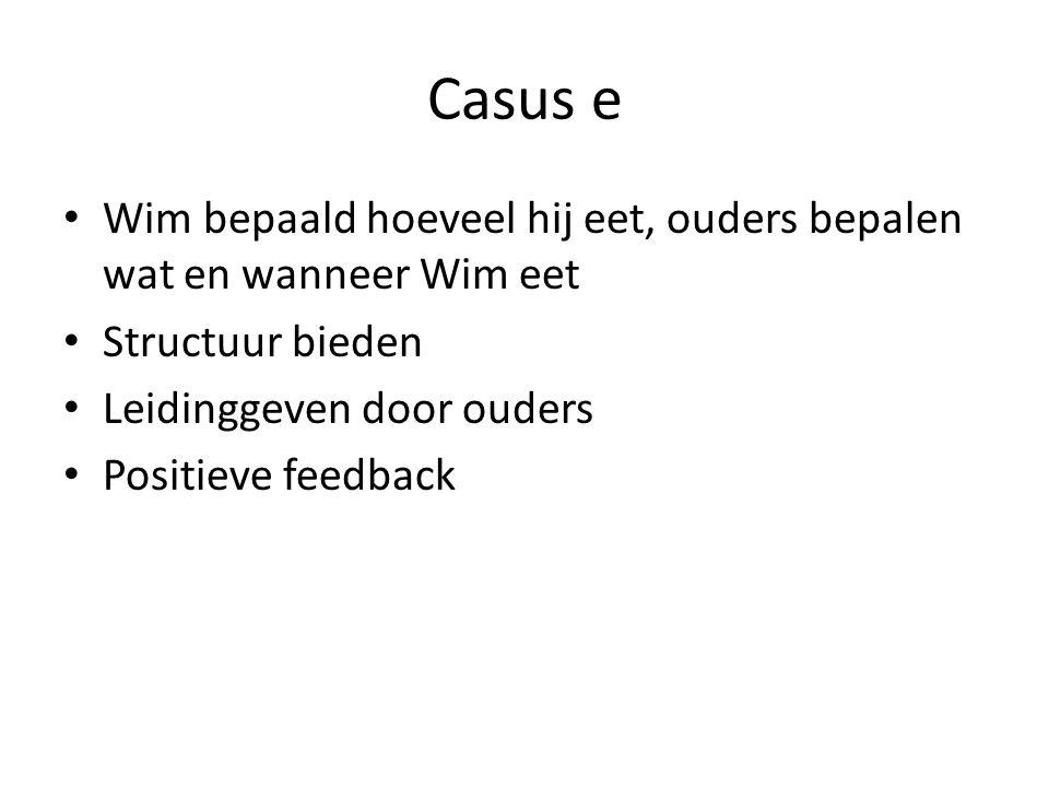 Casus e Wim bepaald hoeveel hij eet, ouders bepalen wat en wanneer Wim eet. Structuur bieden. Leidinggeven door ouders.