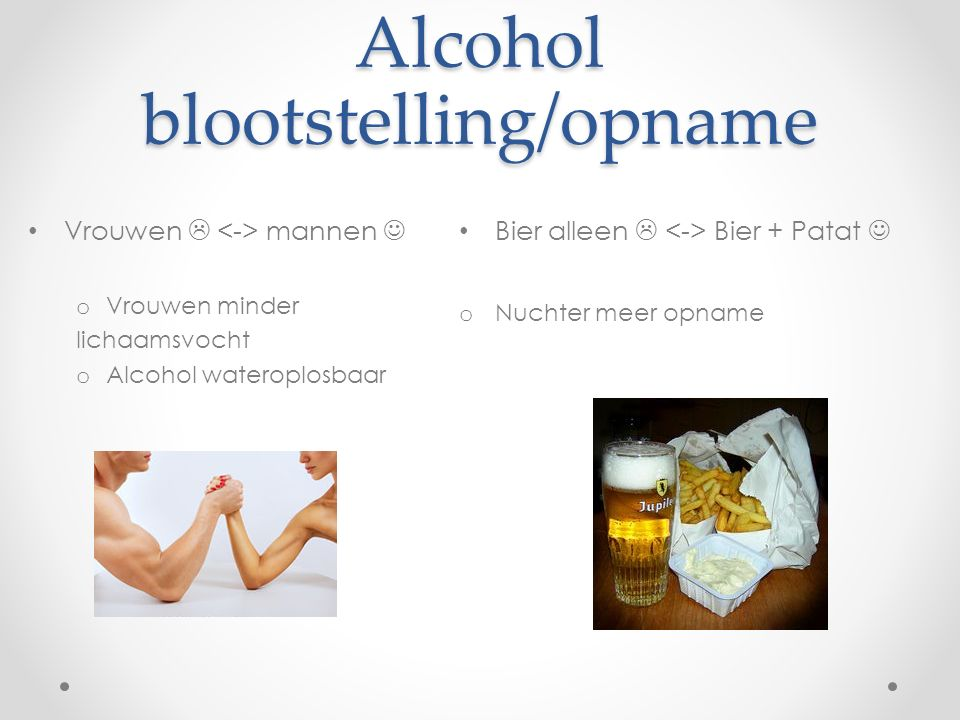 Alcohol blootstelling/opname