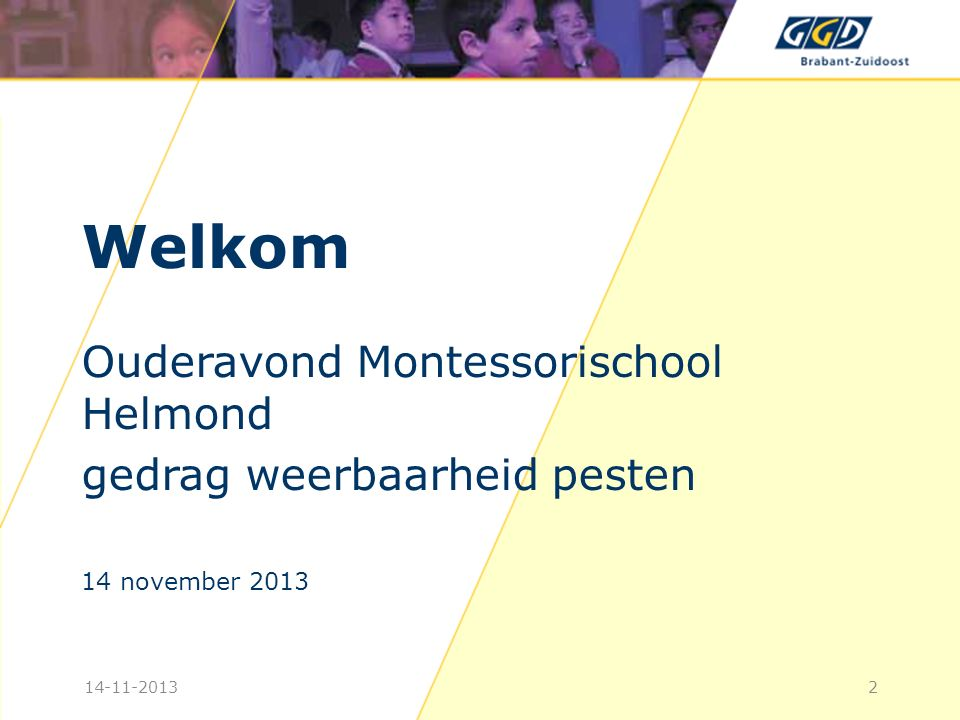 Welkom Ouderavond Montessorischool Helmond gedrag weerbaarheid pesten