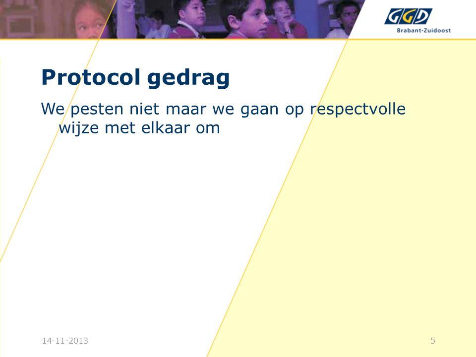 Protocol gedrag We pesten niet maar we gaan op respectvolle wijze met elkaar om.