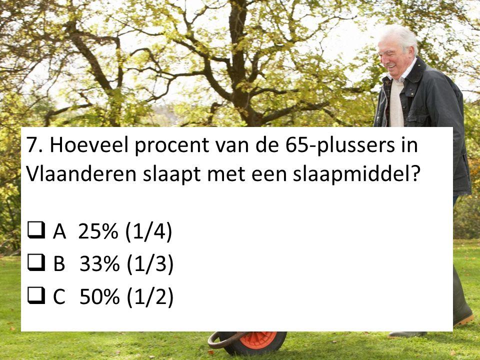 7. Hoeveel procent van de 65-plussers in Vlaanderen slaapt met een slaapmiddel