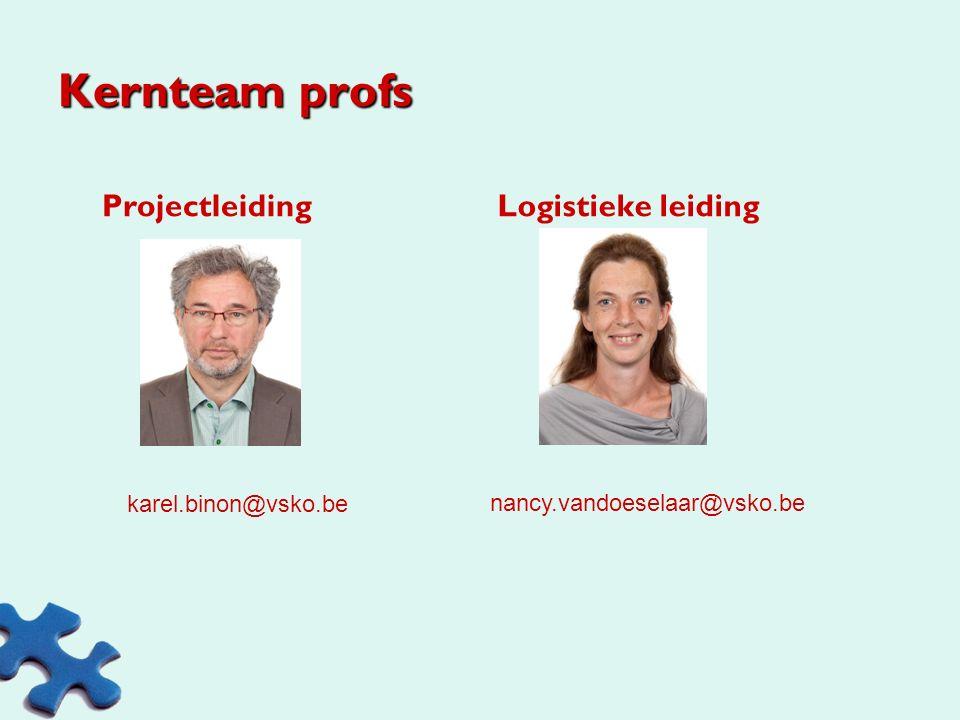 Kernteam profs Projectleiding Logistieke leiding karel.binon@vsko.be