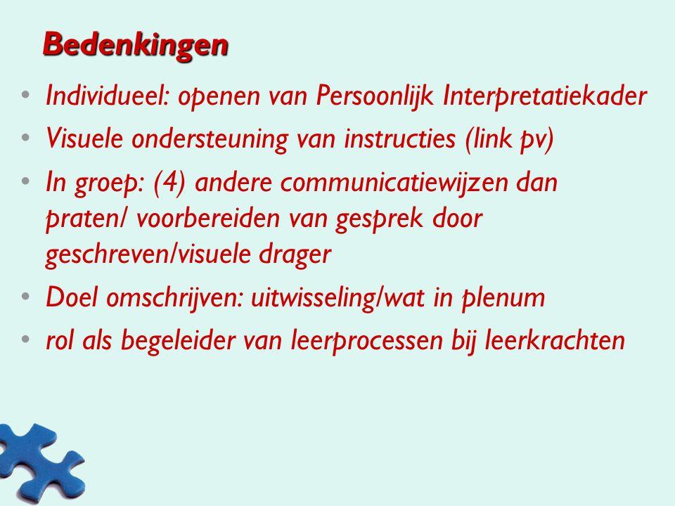 Bedenkingen Individueel: openen van Persoonlijk Interpretatiekader