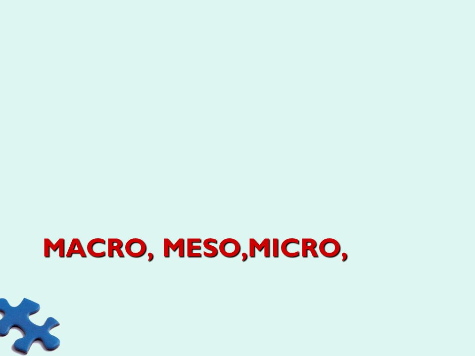 Macro, meso,micro,