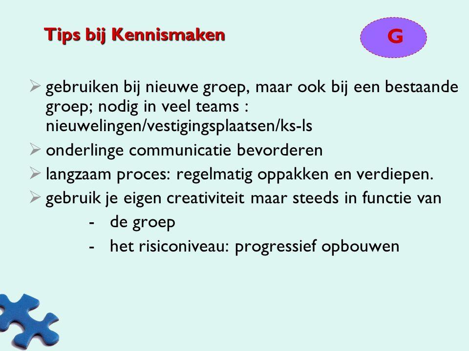 Tips bij Kennismaken G. gebruiken bij nieuwe groep, maar ook bij een bestaande groep; nodig in veel teams : nieuwelingen/vestigingsplaatsen/ks-ls.