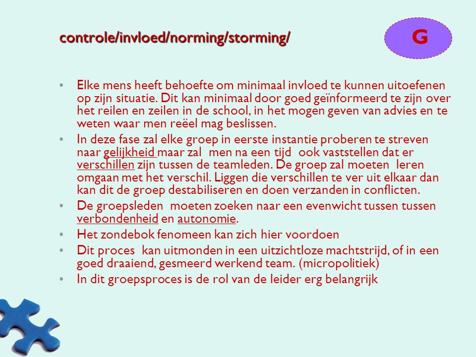 controle/invloed/norming/storming/