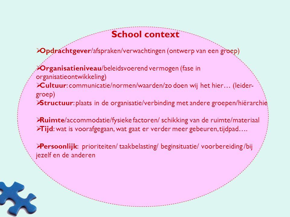 School context Opdrachtgever/afspraken/verwachtingen (ontwerp van een groep)