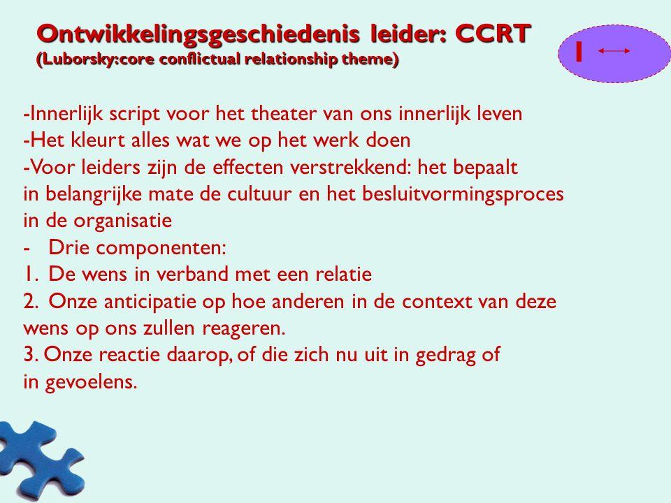 Ontwikkelingsgeschiedenis leider: CCRT (Luborsky:core conflictual relationship theme)