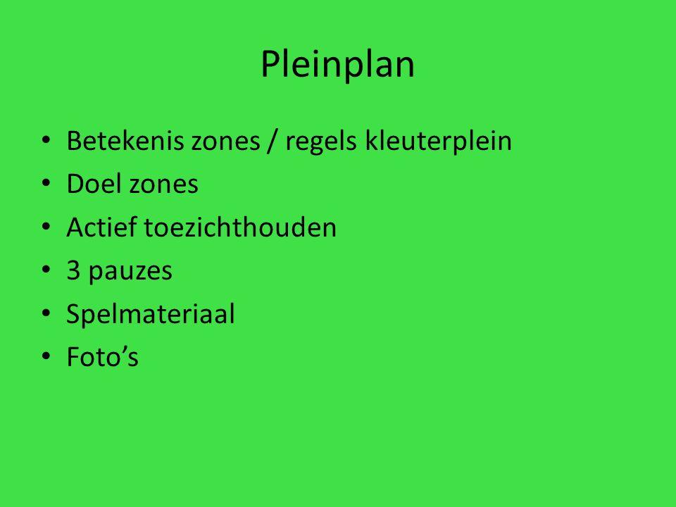 Pleinplan Betekenis zones / regels kleuterplein Doel zones