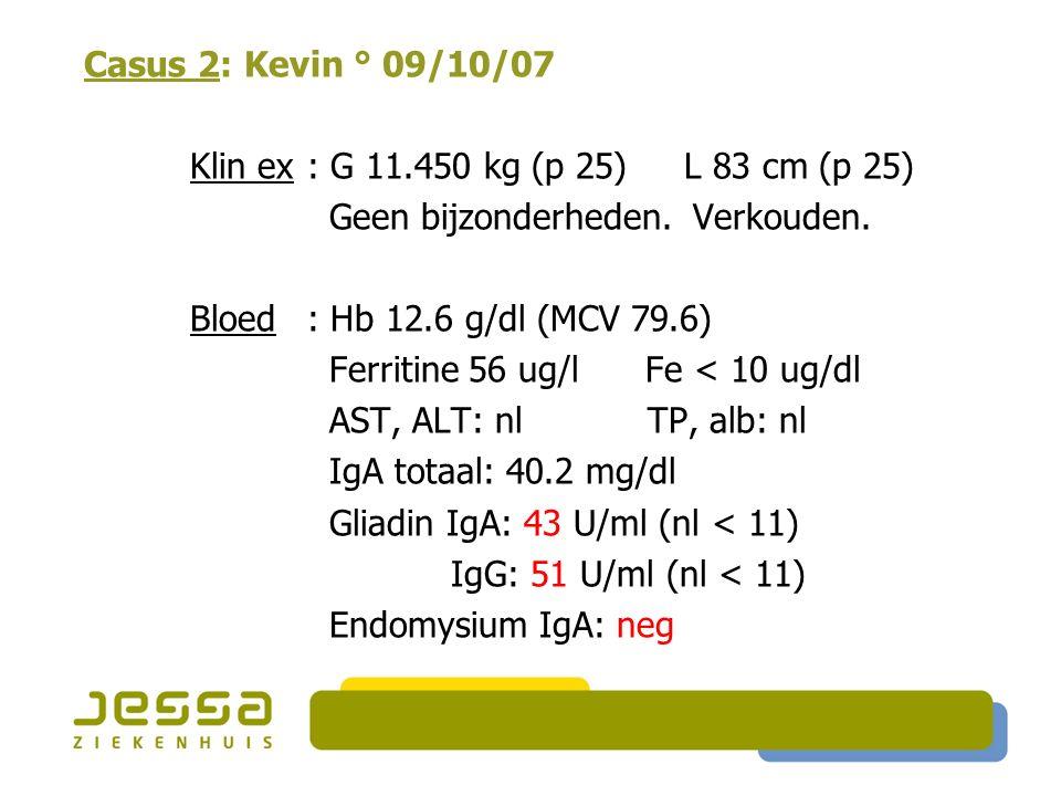 Geen bijzonderheden. Verkouden. Bloed : Hb 12.6 g/dl (MCV 79.6)