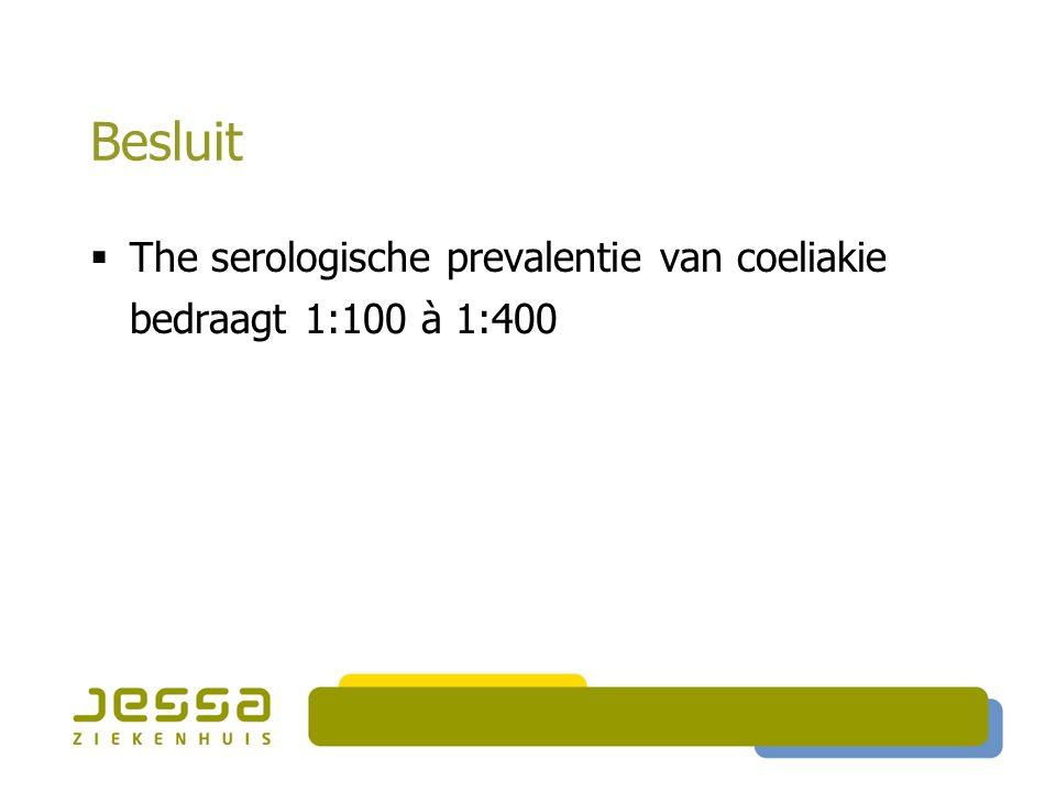 Besluit The serologische prevalentie van coeliakie bedraagt 1:100 à 1:400