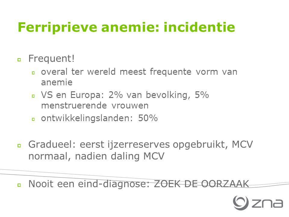 Ferriprieve anemie: incidentie