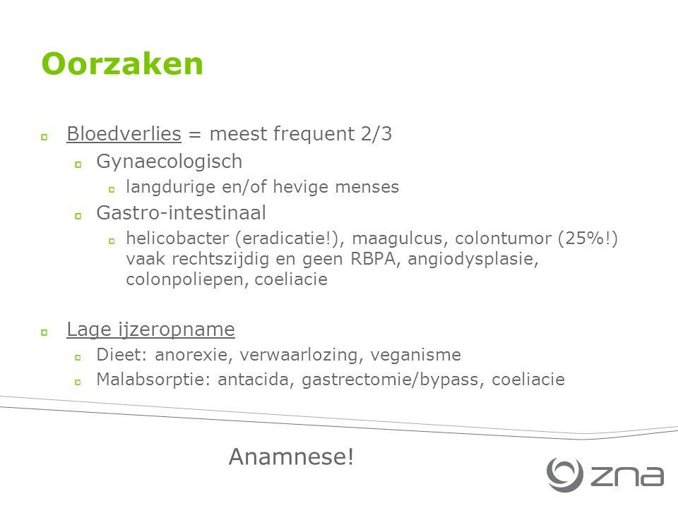 Oorzaken Anamnese! Bloedverlies = meest frequent 2/3 Gynaecologisch