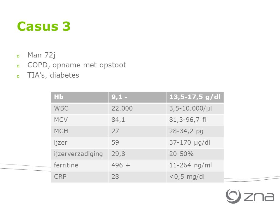 Casus 3 Man 72j COPD, opname met opstoot TIA's, diabetes Hb 9,1 -