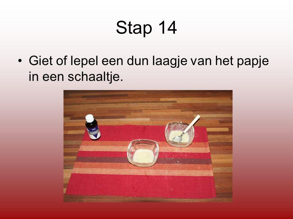 Stap 14 Giet of lepel een dun laagje van het papje in een schaaltje.