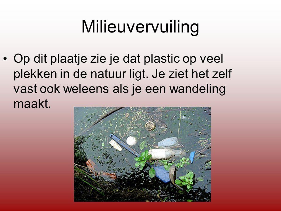 Milieuvervuiling Op dit plaatje zie je dat plastic op veel plekken in de natuur ligt.