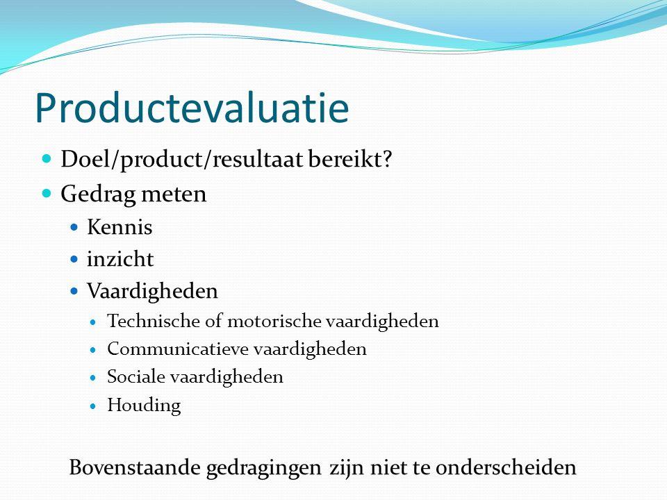 Productevaluatie Doel/product/resultaat bereikt Gedrag meten Kennis