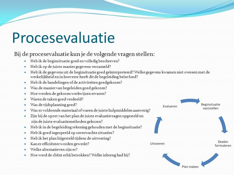Procesevaluatie Bij de procesevaluatie kun je de volgende vragen stellen: Heb ik de beginsituatie goed en volledig beschreven