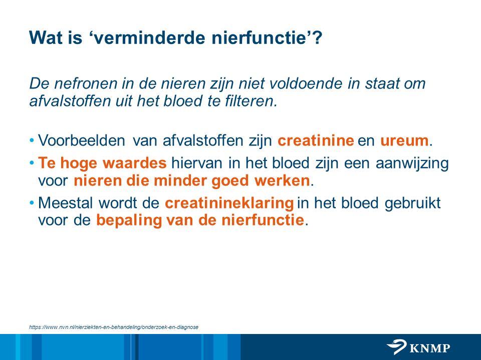 Wat is 'verminderde nierfunctie'