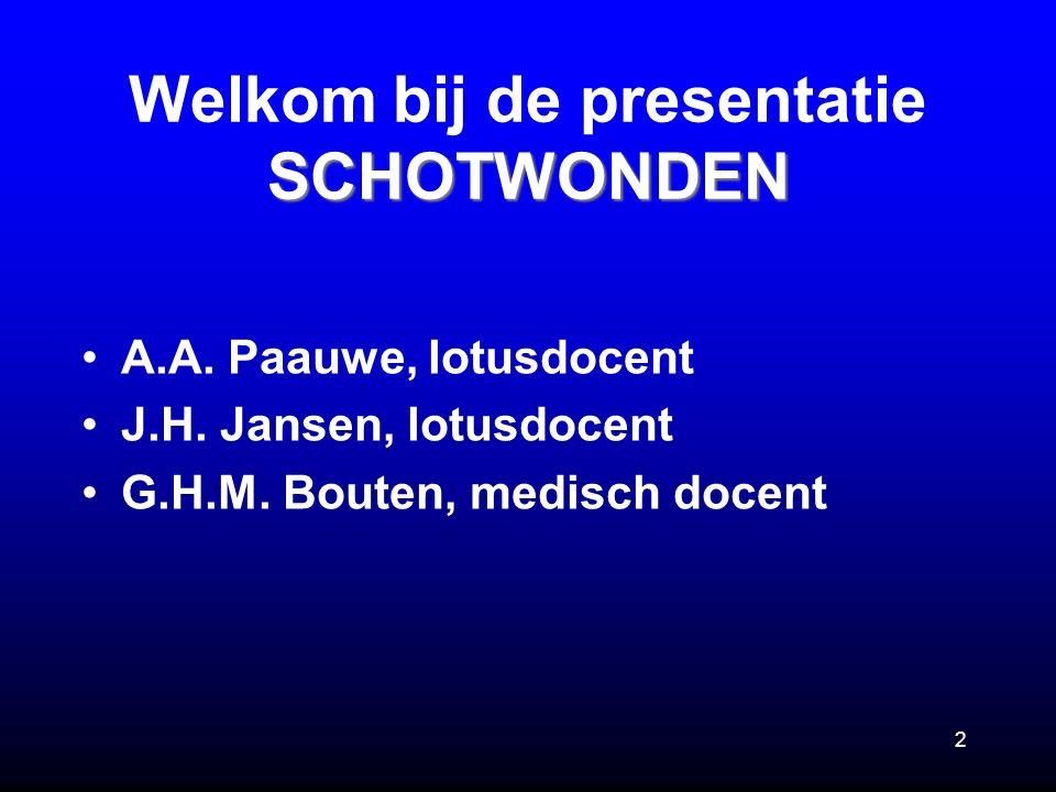 Welkom bij de presentatie SCHOTWONDEN