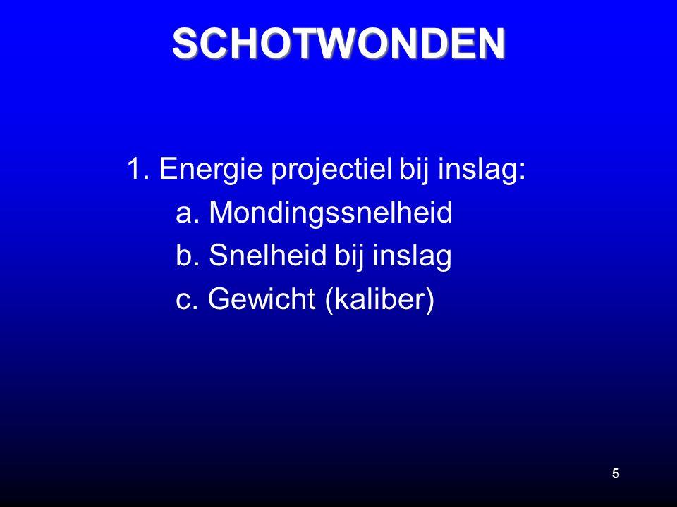 SCHOTWONDEN 1. Energie projectiel bij inslag: a. Mondingssnelheid