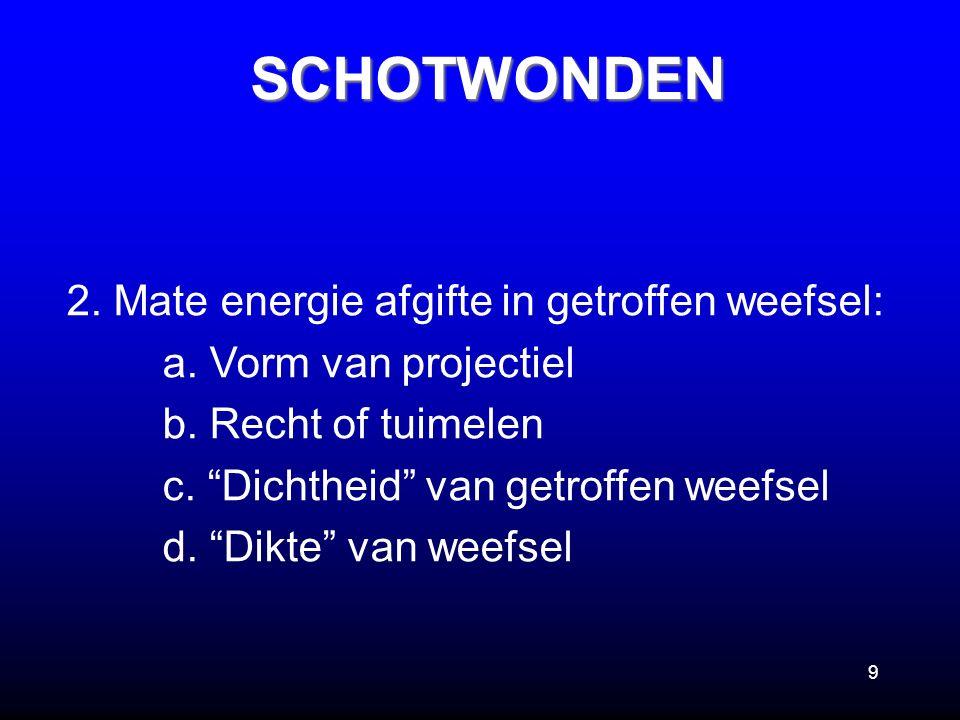 SCHOTWONDEN 2. Mate energie afgifte in getroffen weefsel: