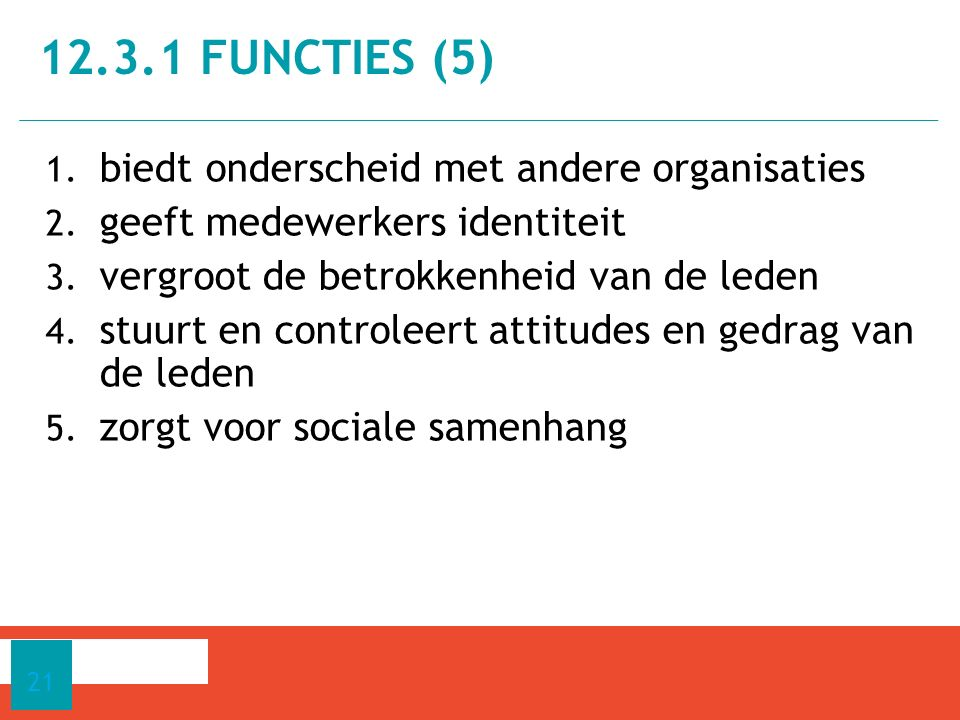 12.3.1 functies (5) biedt onderscheid met andere organisaties