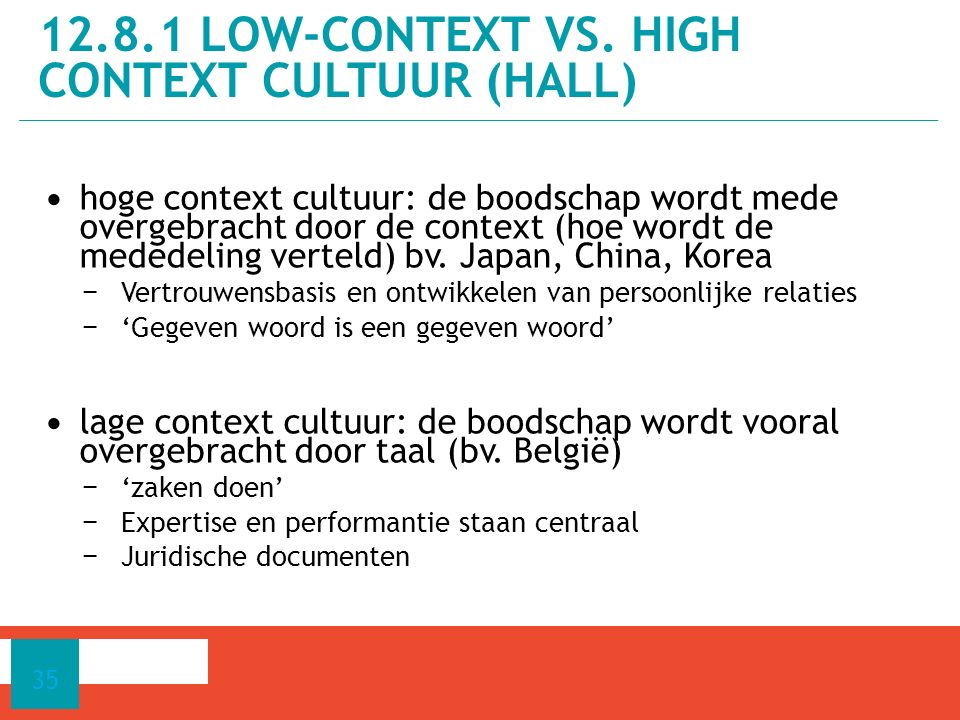 12.8.1 low-context vs. high context cultuur (Hall)