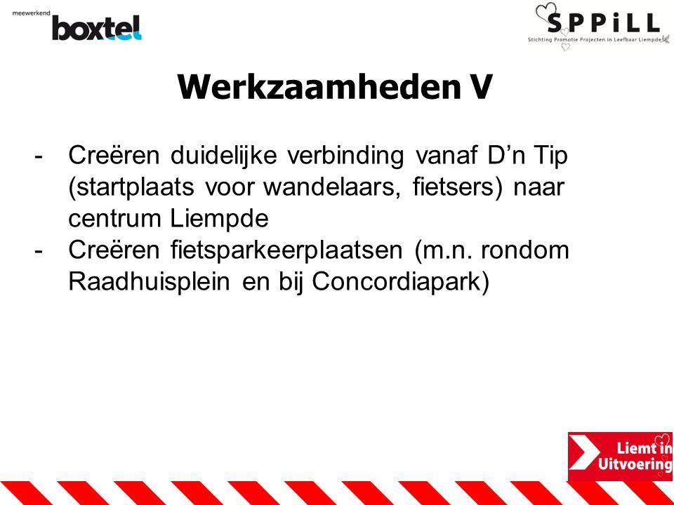 Werkzaamheden V Creëren duidelijke verbinding vanaf D'n Tip (startplaats voor wandelaars, fietsers) naar centrum Liempde.