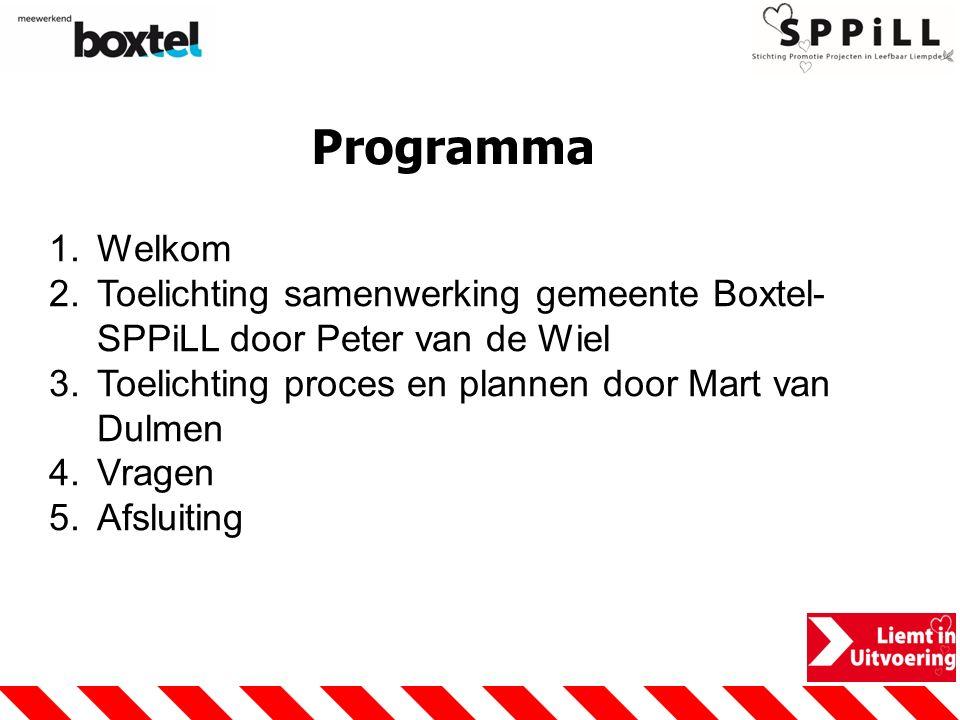 Programma Welkom. Toelichting samenwerking gemeente Boxtel-SPPiLL door Peter van de Wiel. Toelichting proces en plannen door Mart van Dulmen.