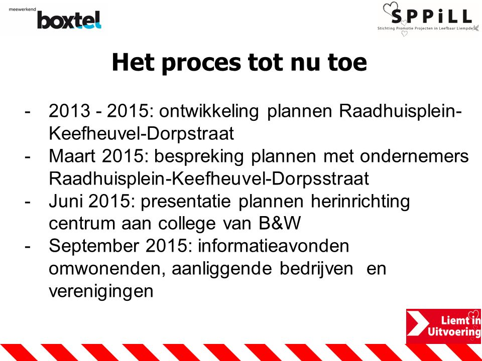 Het proces tot nu toe 2013 - 2015: ontwikkeling plannen Raadhuisplein-Keefheuvel-Dorpstraat.