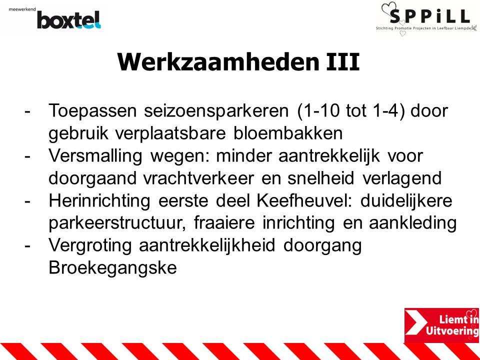 Werkzaamheden III Toepassen seizoensparkeren (1-10 tot 1-4) door gebruik verplaatsbare bloembakken.