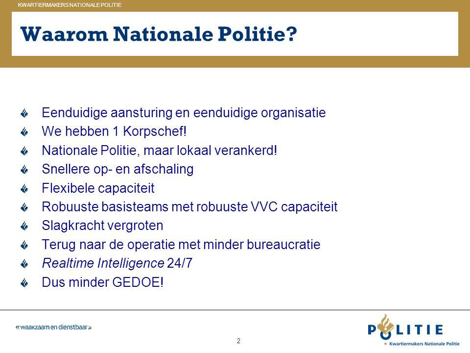 Waarom Nationale Politie