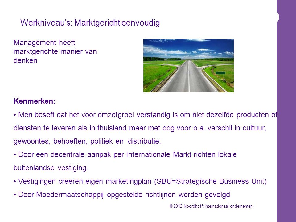 Werkniveau's: Marktgericht eenvoudig