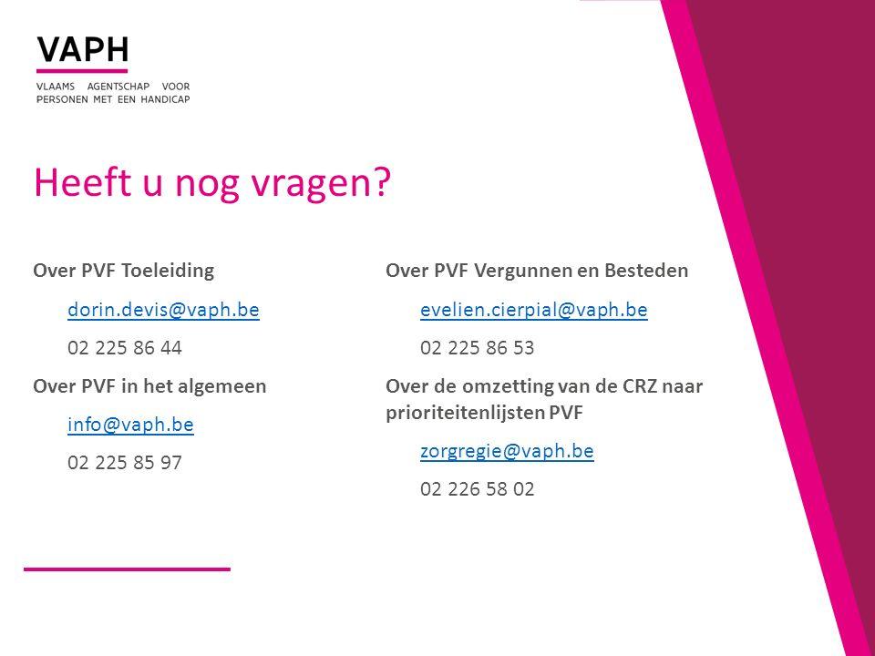 Heeft u nog vragen Over PVF Toeleiding Over PVF Vergunnen en Besteden
